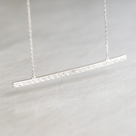 CZ White Gold Long Stick Bar Necklace Sterling Silver from kellinsilver.com