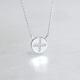 White Gold Disc Charm Cross Necklace Sterling Silver from kellinsilver.com