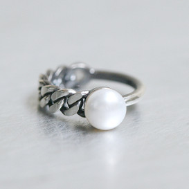 Oxidized Sterling Silver Asymmetric Band Pearl Ring from kellinsilver.com