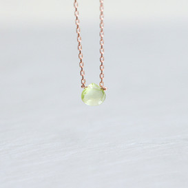 Rose Gold October Birthstone Peridot Necklace Sterling Silver from kellinsilver.com