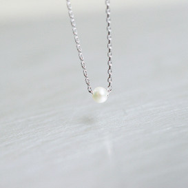 Solitaire Tiny Freshwater Pearl Necklace Sterling Silver from kellinsilver.com