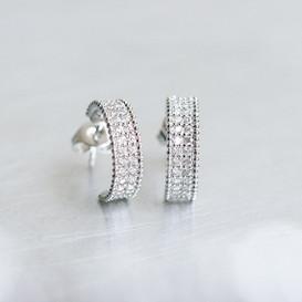 Pave Wedding Perlee Earrings Sterling Silver from kellinsilver.com