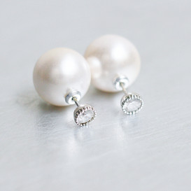 Bezel CZ Front And Pearl Backing Double Side Stud Earrings from kellinsilver.com