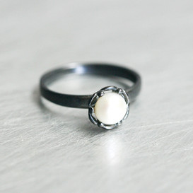 Freshwater Pearl Oxidized Sterling Silver Ring from kellinsilver.com