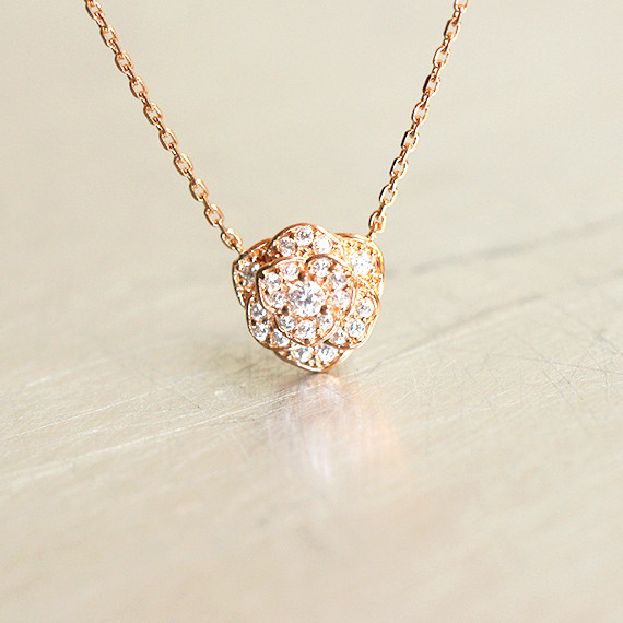 CZ Rose Gold Rose Necklace Sterling Silver from kellinsilver.com
