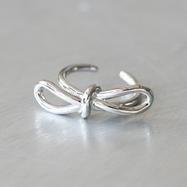 White Gold Promise Bow Knot Ring Sterling Silver from kellinsilver.com