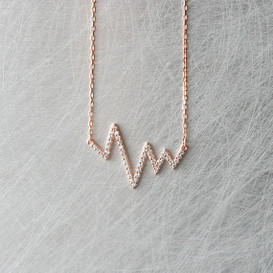CZ Rose Gold Heartbeat Necklace Sterling Silver from kellinsilver.com