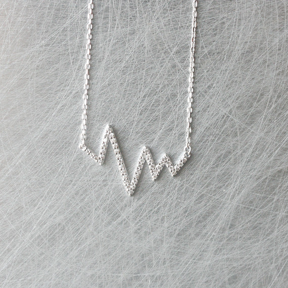 CZ White Gold Heartbeat Necklace Sterling Silver from kellinsilver.com