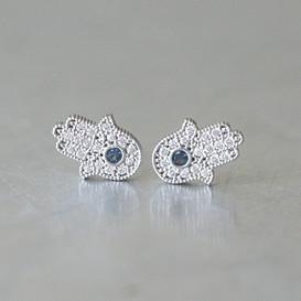 Sterling Silver Sapphire Blue Hamsa Stud Earrings White God from kellinsilver.com