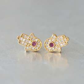 Sterling Silver Ruby Red Hamsa Stud Earrings God from kellinsilver.com