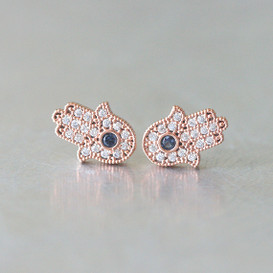Sterling Silver Sapphire Blue Hamsa Stud Earrings Rose God from kellinsilver.com