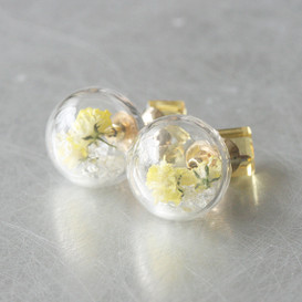 Yellow Cube Real Dried Flower in Ball Double Sided Earrings Stud from kellinsilver.com