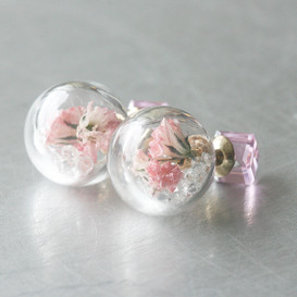 Pink Cube Real Dried Flower in Ball Double Sided Earrings Stud from kellinsilver.com