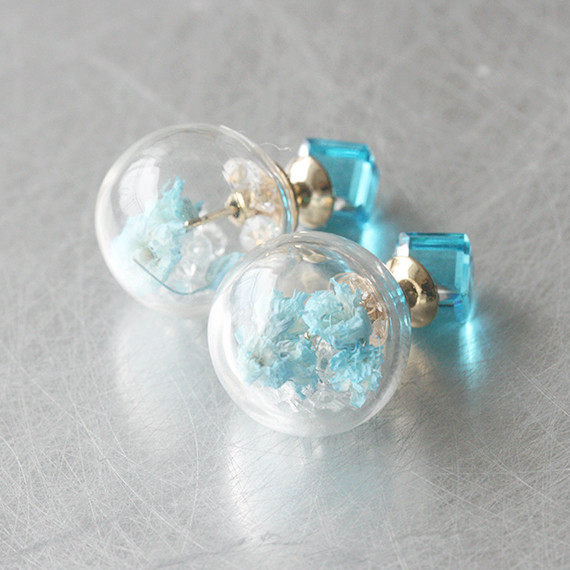 Blue Cube Real Dried Flower in Ball Double Sided Earrings Stud from kellinsilver.com