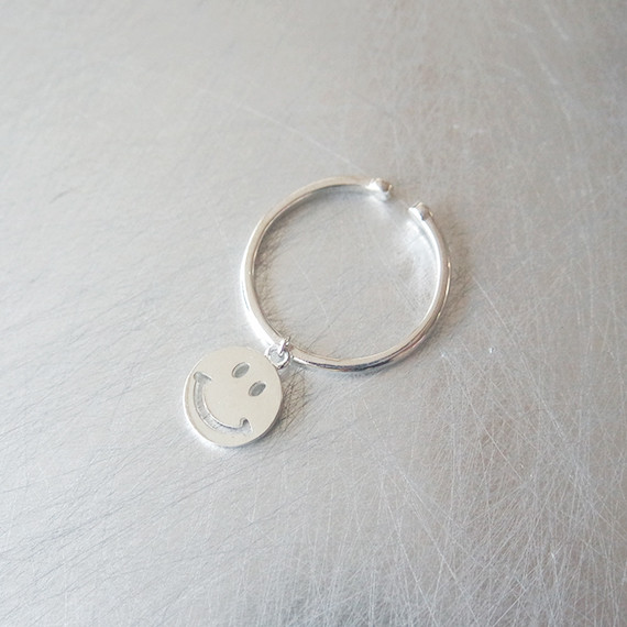 sterling Silver Smile Charm Ring Cuff from kellinsilver.com