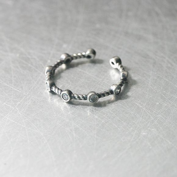 oxidized sterling silver cz bridge cuff ring from kellinsilver.com