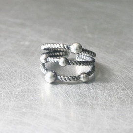 Oxidized Sterling Silver Triple Dot Rope Ring from kellinsilver.com