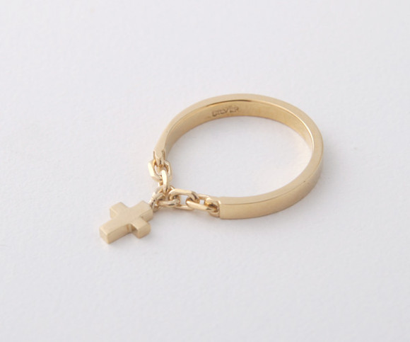Gold Cross Charm Chain Ring Sterling Silver kellinsilver