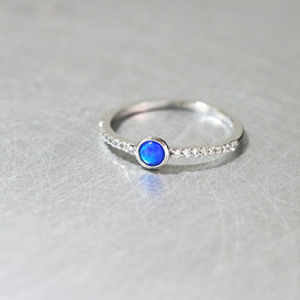 Blue Opal CZ Ring Sterling Silver from kellinsilver.com