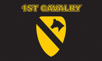 1st Cavalry (Black Background) Military Flags