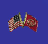 U.S./Fire Department Double Flag Lapel Pin