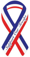 "4"" Red, White & Blue Ribbon Magnet - ""Support Our Troops"""