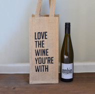 Burlap Wine Tote bag - Love the Wine You're With