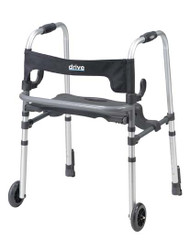 Drive Medical Clever-Lite LS Walker with Seat, Push Down Brakes