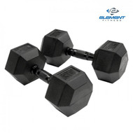 Element Fitness Virgin Rubber Commercial Hex Dumbbells - low odor- 70 lbs