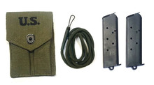 2 Colt 1911 GI 45 ACP 7 Round Magazines with Lanyard and Pouch