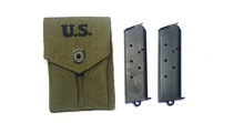 2 Colt 1911 GI 45 ACP 7 Round Magazines with Pouch