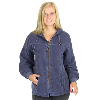 Light Corded Hoodie Jacket Blue Jean
