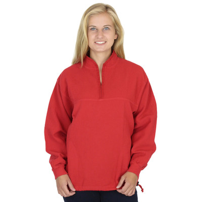 Light Corded Cotton Mandarin Top Race Red