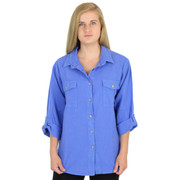 c74c8cd2be Crinkle Cotton 3 Qtr Slv Jeans Shirt Marina Blue
