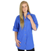 Crinkle Cotton Pin-Tuck Blouse (458) ROYAL BLUE