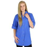 Crinkle Cotton Pin-Tuck Blouse (458) ROYAL BLUE