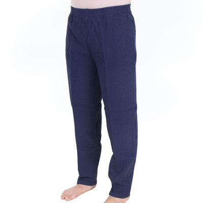 Crinkle Cotton Ankle Pant Navy