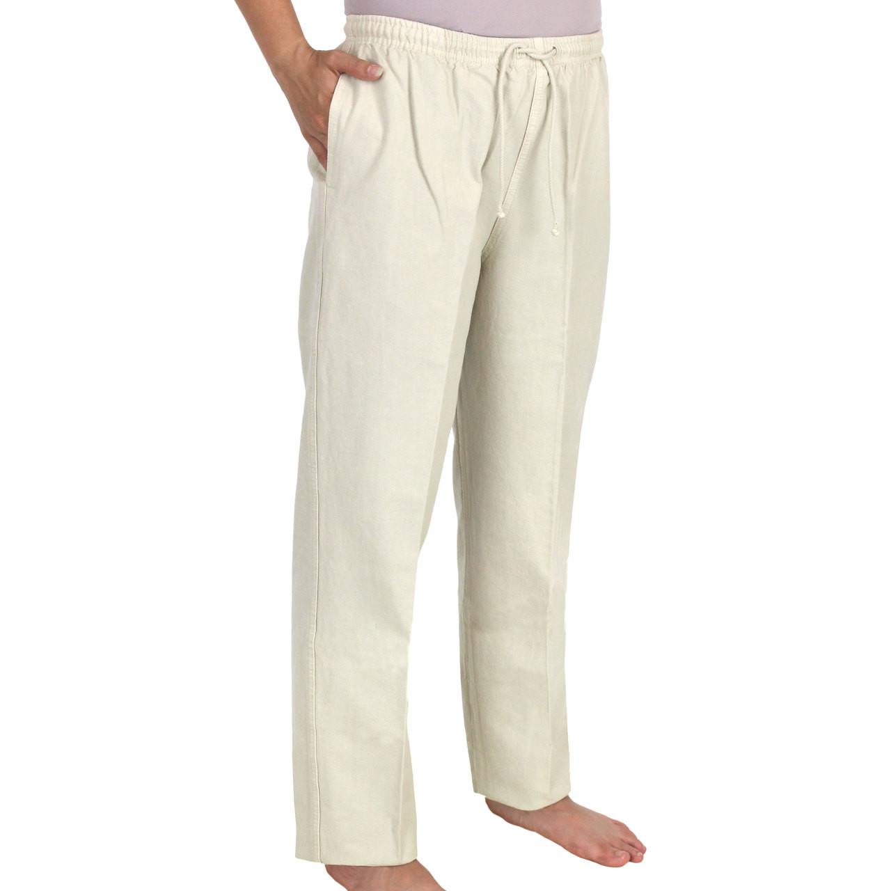 82d370c8f9b Loading zoom. Crinkle Cotton Ankle Pant Flax