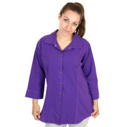 HoneyKomb Corded 3 Qtr Sleeve Shaped Blouse Top Shirt (188) Royal Purple