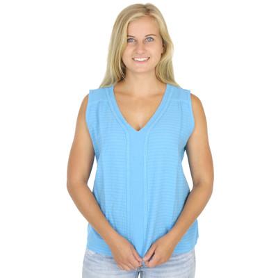 Cotton Mirage Seersucker Sleeveless V Neck Blouse Ultramarine