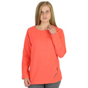 Cotton Blend Terry Knit Boatneck Pullover Sunset