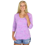 Scoop Neck Cotton Printed Tee 3/4 Three Qtr Sleeve Shirt Orchid