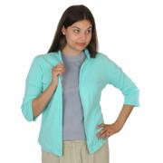 3/4 Sleeve Open Cotton Cardigan Seafoam