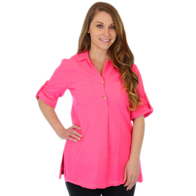100% Crinkle Cotton Women's Loose Fit Pull-Over Tunic