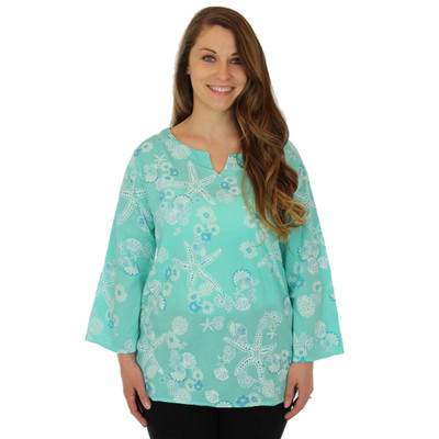 100% Cotton Split Neck 3/4 Sleeve Seafolly Tunic Seafoam