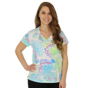 Light Weight Cotton V Neck Women's Tee Shirt Tropicana