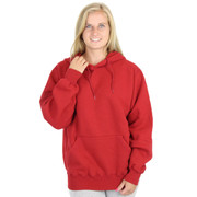 100% Heavy Cotton Womens Hoodie Pullover Sweatshirt - Ruby Red