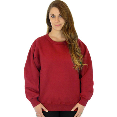 100% Heavy Cotton Womens Crewneck Pullover Sweatshirt - Ruby