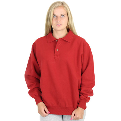 100% Heavy Cotton 3-Button Womens Polo Sweatshirt Ruby Red