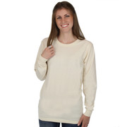 NATURAL Long Sleeve 100% Organic Cotton Hypoallergenic Crew Neck Tee Grown and Made in USA
